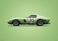 FERRARI 250 GTO - GREEN - 24H LE MANS - 1962 - COLORS OF SPEED POSTER - UNLIMITED EDITION