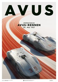 MERCEDES BENZ & AUTO UNION  - SILVER - AVUS - 1937 - POSTER - UNLIMITED EDITION