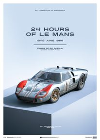 FORD GT40 - BLUE - 24H LE MANS - 1966 - LIMITED POSTER - LIMITED EDITION