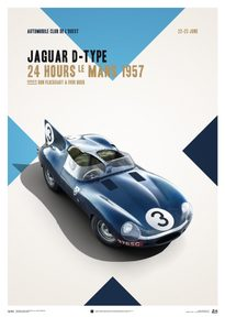 JAGUAR D TYPE - BLUE - 24H LE MANS - 1957 - POSTER - UNLIMITED EDITION