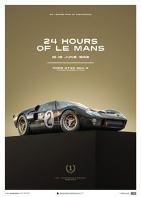 FORD GT40 - BLACK - 24H LE MANS - 1966 - LIMITED POSTER - LIMITED EDITION