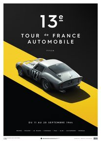 FERRARI 250 GTO - SILVER - TOUR DE FRANCE - 1964 - LIMITED POSTER - LIMITED EDITION