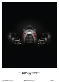 AUTO UNION TYPE C - SILVER - 1937 - POSTER - UNLIMITED EDITION