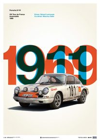 PORSCHE 911R - WHITE - TOUR DE FRANCE - 1969 - LIMITED POSTER - LIMITED EDITION