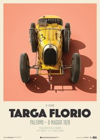 BUGATTI T35 - YELLOW - TARGA FLORIO - 1928 - LIMITED POSTER - LIMITED EDITION