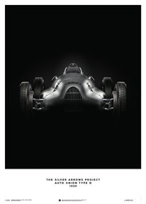 AUTO UNION TYPE D - SILVER - 1939 - POSTER - UNLIMITED EDITION