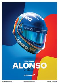 MCLAREN  - FERNANDO ALONSO - HELMET - 2018 - POSTER - UNLIMITED EDITION