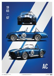 SHELBY-FORD AC COBRA MK III - BLUE - 1965 - LIMITED POSTER - LIMITED EDITION