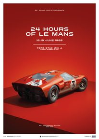FORD GT40 - DAN GURNEY - RED - 24H LE MANS - 1966 - LIMITED POSTER - LIMITED EDITION