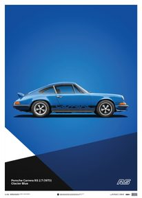 PORSCHE 911 RS - BLUE - LIMITED POSTER - LIMITED EDITION