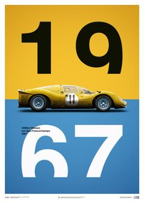 FERRARI 412P - YELLOW - SPA-FRANCORCHAMPS - 1967 - LIMITED POSTER - LIMITED EDITION