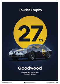 FERRARI 250 GTO - DARK BLUE - GOODWOOD TT - 1962 - LIMITED POSTER - LIMITED EDITION