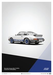 PORSCHE 911 RS - WHITE - LIMITED POSTER - LIMITED EDITION