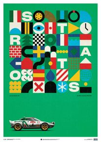 LANCIA STRATOS HF - GREEN - ALITALIA - 1974 - LIMITED POSTER - LIMITED EDITION
