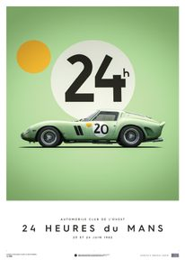 FERRARI 250 GTO - GREEN - 24H LE MANS - 1962 - LIMITED POSTER - LIMITED EDITION