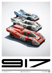 PORSCHE 917 - SALZBURG & MARTINI & GULF - 24H LE MANS - LIMITED POSTER - LIMITED EDITION