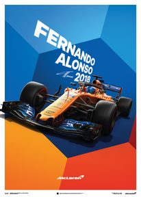 MCLAREN  - FERNANDO ALONSO - MCL33 - 2018 - POSTER - UNLIMITED EDITION