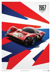 FERRARI 412P - RED - 24 HOURS OF DAYTONA - 1967 - LIMITED POSTER - LIMITED EDITION