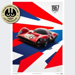 FERRARI 412P - RED - 24 HOURS OF DAYTONA - 1967 - LIMITED POSTER | SIGNED - SIGNED