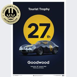 FERRARI 250 GTO - DARK BLUE - GOODWOOD TT - 1962 - LIMITED POSTER | UNIQUE #S - UNIQUE #S