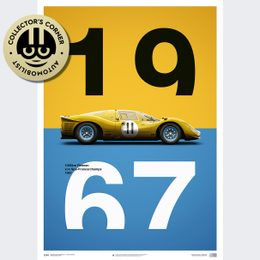 FERRARI 412P - YELLOW - SPA-FRANCORCHAMPS - 1967 - LIMITED POSTER | UNIQUE #S - UNIQUE #S