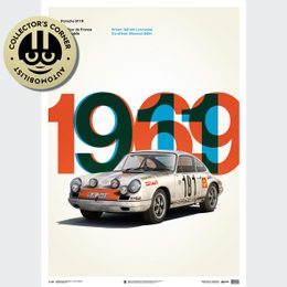 PORSCHE 911R - WHITE - TOUR DE FRANCE - 1969 - LIMITED POSTER | UNIQUE #S - UNIQUE #S