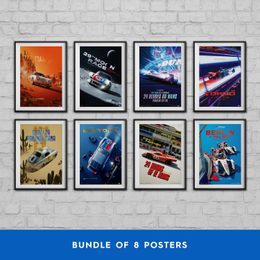 PORSCHE - PAST AND FUTURE COLLECTION | 8 POSTERS | COLLECTOR'S EDITION - COLLECTOR'S EDITION