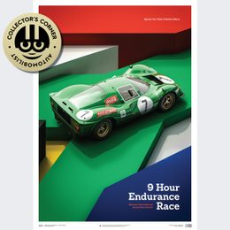 FERRARI 412P - GREEN - KYALAMI 9 HOUR - 1967 - LIMITED POSTER | UNIQUE #S - UNIQUE #S