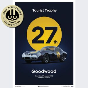 Ferrari 250 GTO - Dark Blue - Goodwood TT - 1962 - Limited Poster | Unique #s