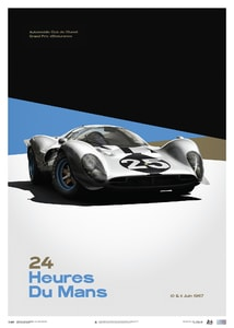 Ferrari 412P - White - 24 hours of Le Mans - 1967 - Limited Poster