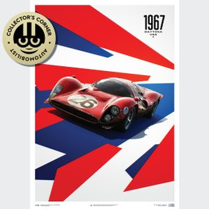 Ferrari 412P - Red - 24 Hours of Daytona - 1967 - Limited Poster | Unique #s