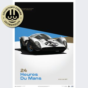 Ferrari 412P - White - 24 hours of Le Mans - 1967 - Limited Poster | Unique #s