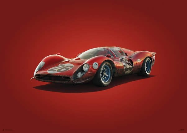 Ferrari 412P - Red - Daytona - 1967 - Colors of Speed Poster