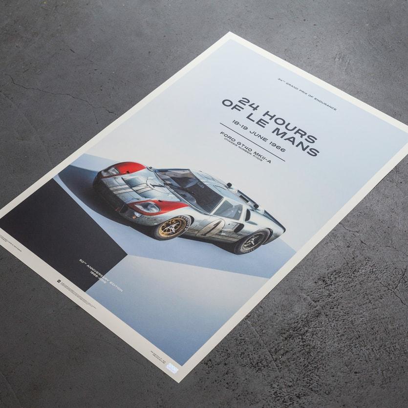 Ford Parts Car Vehicle Poster  American Motor Company Blue Photo Logo Print