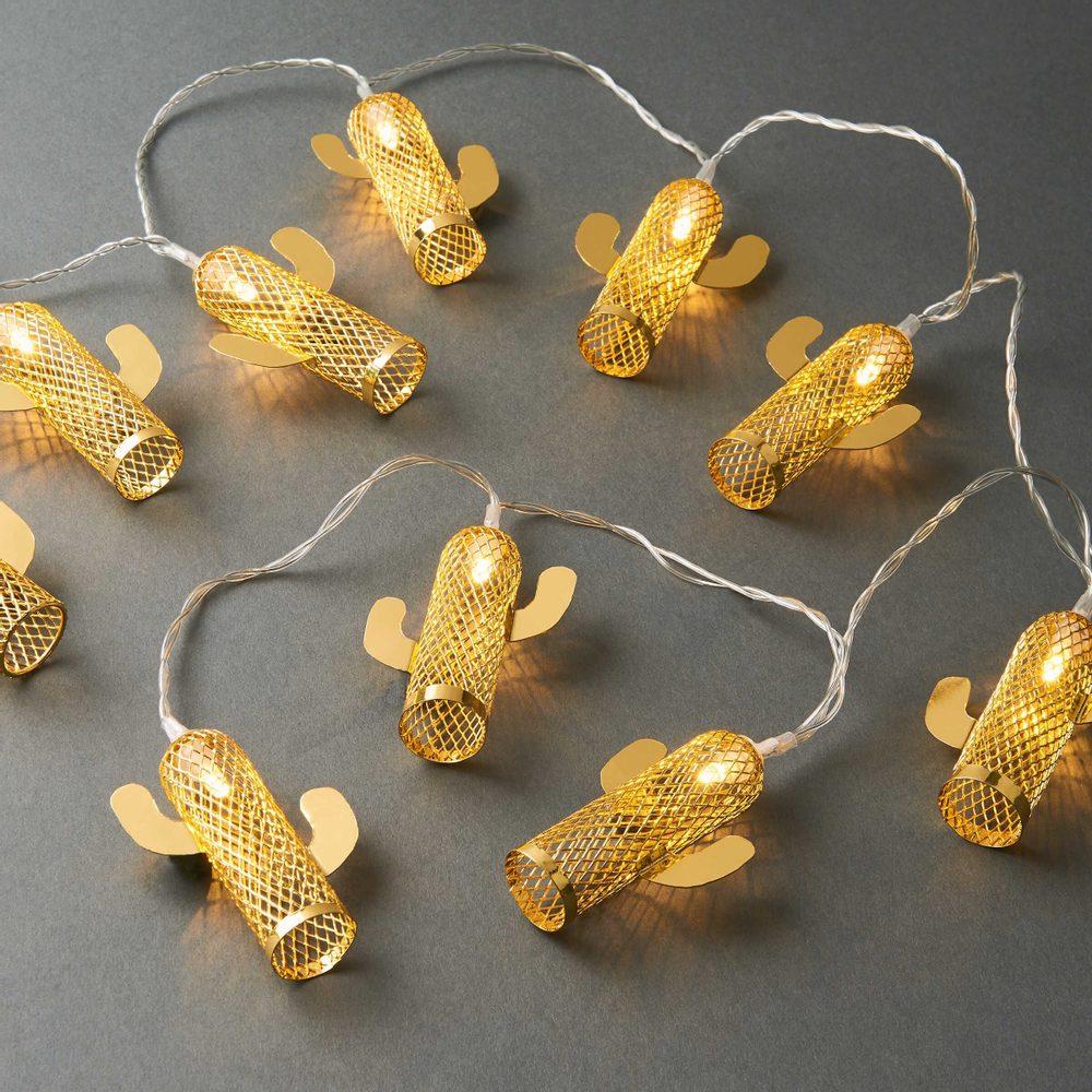 MIAMI Svetelná LED reťaz kaktus 10 svetiel - zlatá
