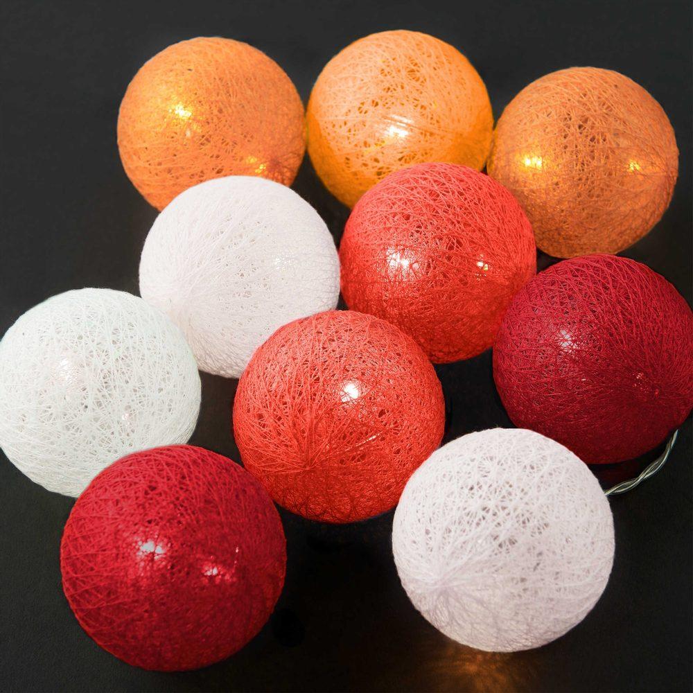 LES BELLES IN THE MOOD Svetelná reťaz 10 gulí - červená/oranžová/biela