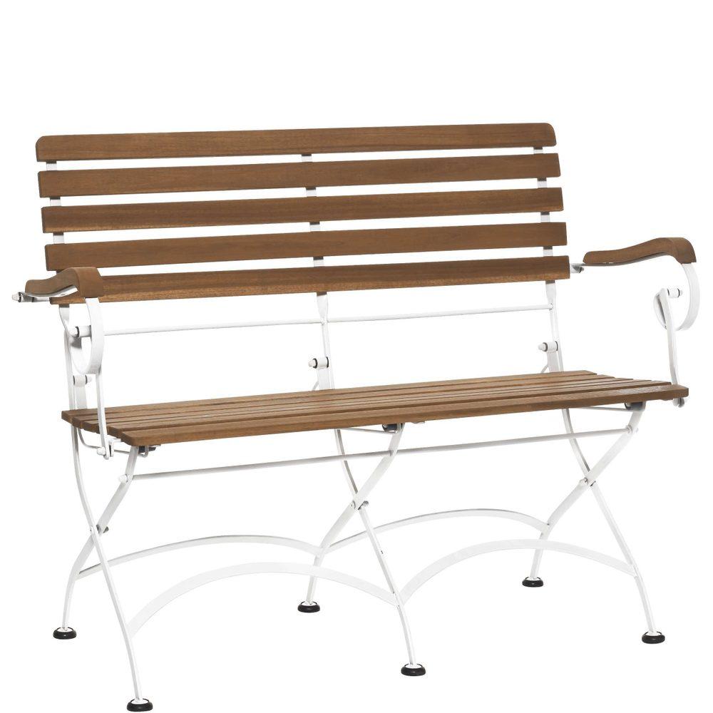 PARKLIFE Skladací lavica - hnedá/biela