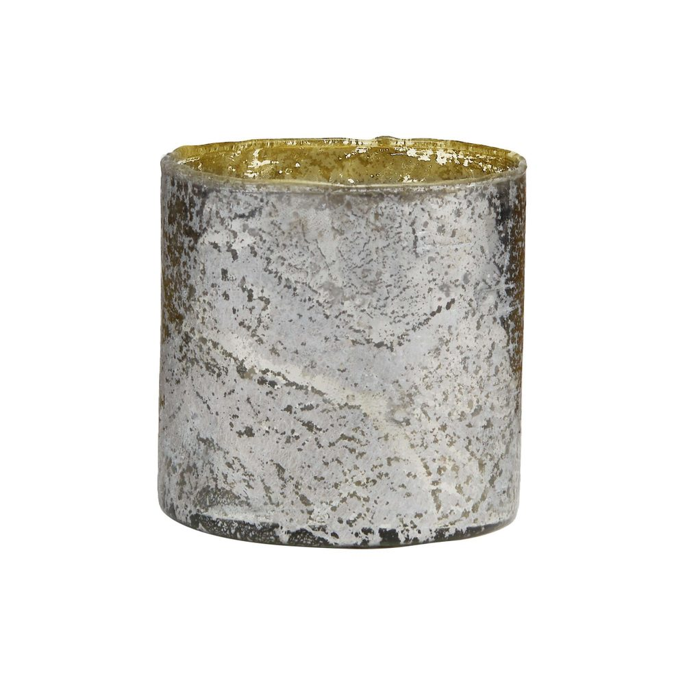 DELIGHT Sklenený votívny svietnik 10 cm - strieborná
