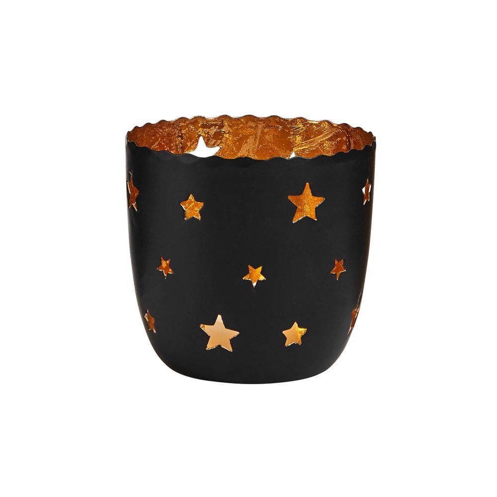 DELIGHT Svietnik na čajovú sviečku hviezdy veľký - čierna/zlatá