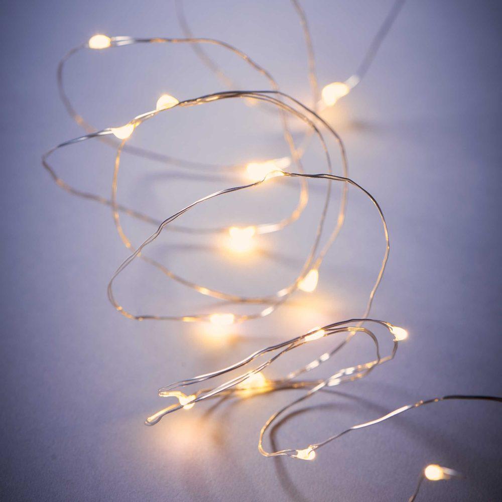 TWINE LIGHTS BRIGHT NIGHT Svetelný drôt strieborný 20 svetiel