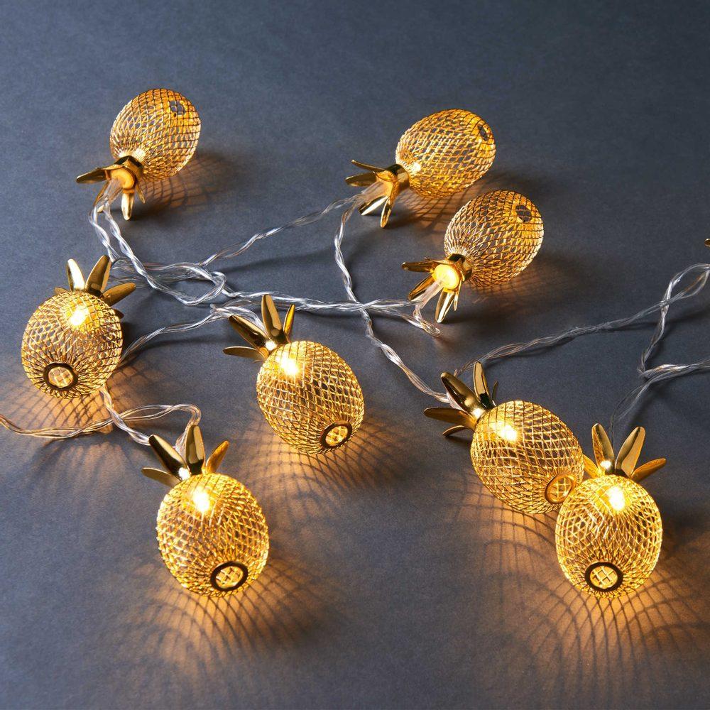 MIAMI Svetelná LED reťaz ananás 10 svetiel - zlatá