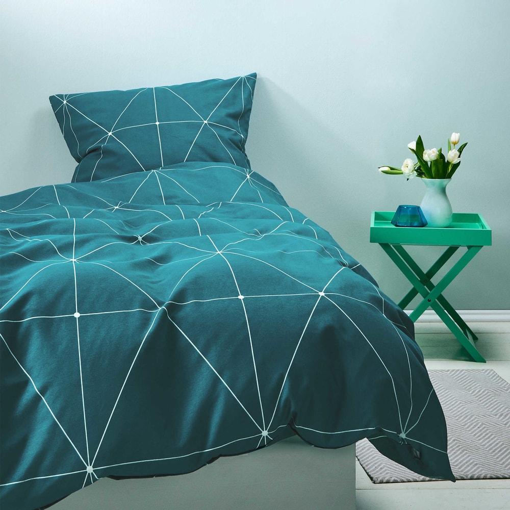 SWEET DREAMS Obliečky geometrický vzor 135 x 200 cm / 80 x 80 cm - petrolejová