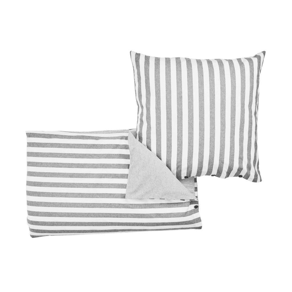 VERMONT Flanelové povlečení 135 x 200 cm / 80 x 80 cm - sv. šedá/bílá