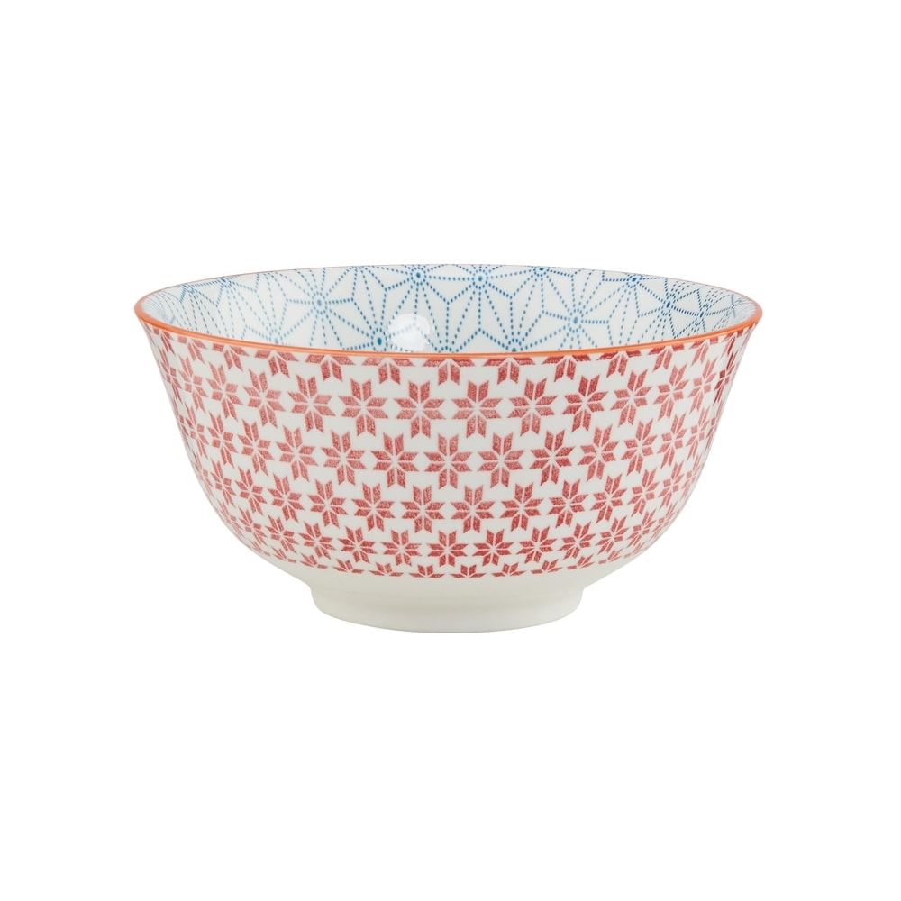 ORNAMENTS Porcelánová misa 15 cm - modrá/červená