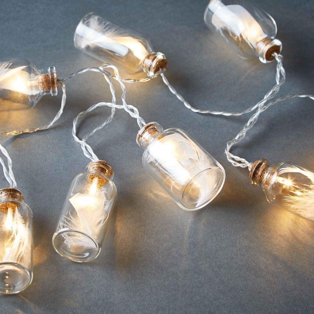 FEATHERS LED Svetelná reťaz poháre s pierkami 10 svetiel