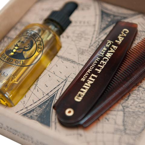 Captain Fawcett Beard Oil & Foldable Beard Comb Gift Set