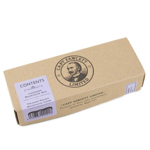 Captain Fawcett Lavender Moustache Wax & Foldable Beard Comb Gift Set