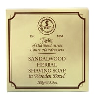 Taylor of Old Bond Street Sandalwood Shaving Soap in Wooden Bowl (100 g)