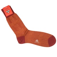 Di Carlo Egyptian Cotton Socks - Orange & Red Grid