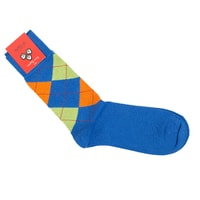 Di Carlo Egyptian Cotton Socks - Light Blue with Colorful Rhombus